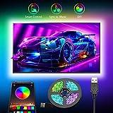 LED TV Hintergrundbeleuchtung APP,Romwish 3M LED Strip USB Bluetooth TV LED Licht für 40-60 Inch RGB 5050 APP Control Sync mit Music Bias Lighting LED Beleuchtung für HDTV, TV-Bildschirm, PC