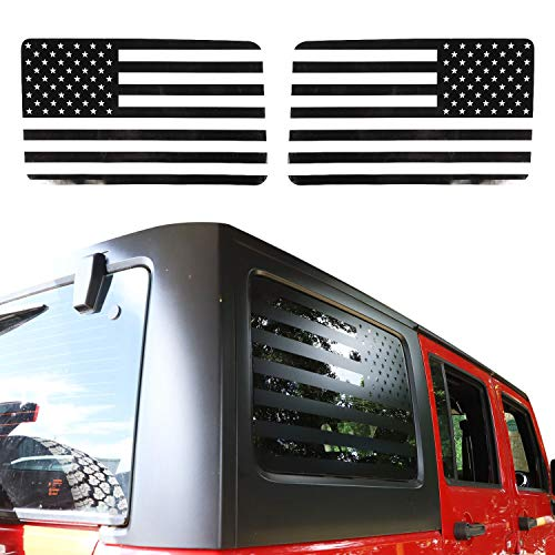 JeCar American Flag Window Decal Vinyl Rear Window Sticker for 2011-2018 Jeep Wrangler JKU (4 Door)