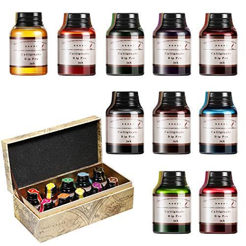 GC QUILL Tinte Set für Kalligraphie Stifte, 10 Flaschen Farbige Flaschen Füllfederhalter Tinte Glas für Dip Pen Feder Füller