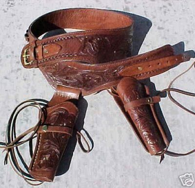 Brown Genuine Leather Double Western GUNS4US Holster Cowboy...