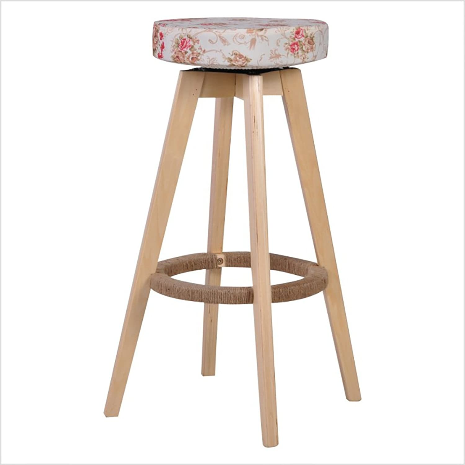 Solid Wood Bar Stools High Chair Stools Simple Home Bar Stools Swivel Stools European Soft Knitted Fabric Bar Stools High Stools