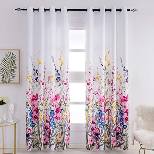 Kotile Floral Curtains for Living Room - Thermal Insulated Print Flowers Curtains 84 Inch Length Room Darkening Curtains for Bedroom, 52 x 84 Inches, Set of 2 Panels, Red Pink