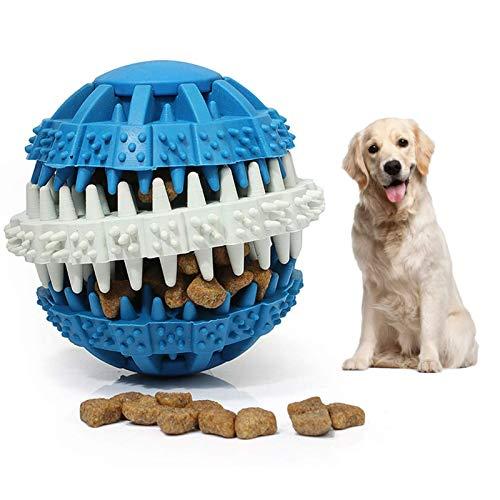 Pelota de Juguete para Perros, Juguetes para Masticar Resistentes a Las mordeduras para Perros, Cachorros, Gatos, Pelota dispensadora de Alimentos, Pelota de Goma para Tratar (Azul, 6cm)