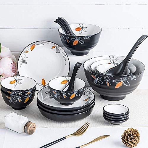 GAXQFEI Juego de vajilla de porcelana de 20 piezas, vajilla de cerámica con diseño nórdico con cuencos, cuchara y plato, servicio para 6, gran regalo para amigos y hogar