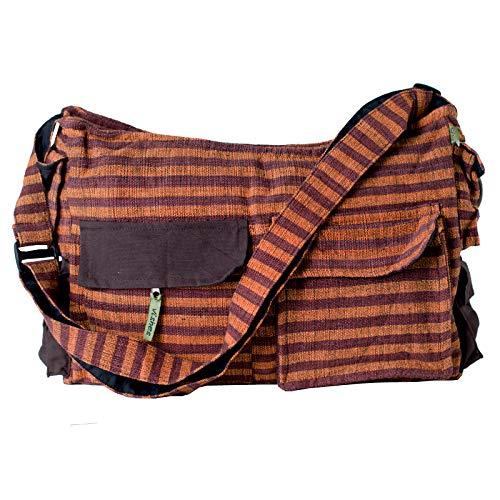 Vishes - Gestreifte Umhängetasche aus handgewebter Baumwolle (Braun Orange)