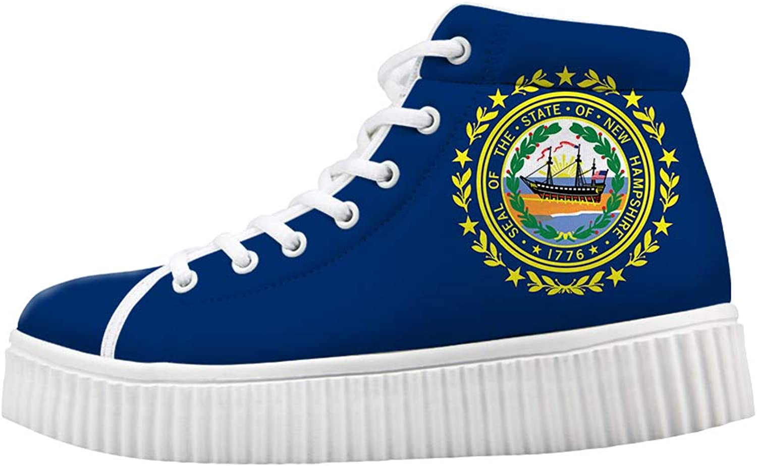 Owaheson Platform Lace up Sneaker Casual Chunky Walking shoes High Top Women Granite State New Hampshire Flag