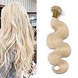 Elailite Extensiones Pelo Natural Cortina Cabello Humano Brasileño 100% Remy Rizado Brazilain Human Hair Bundles sin Clip 60cm 100g #60 Rubio Platino