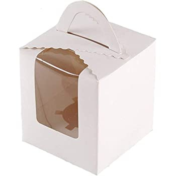 25 Pcs Single White Cupcakes Containers Gift Boxes with Window Inserts Handle for Wedding Candy Boxes