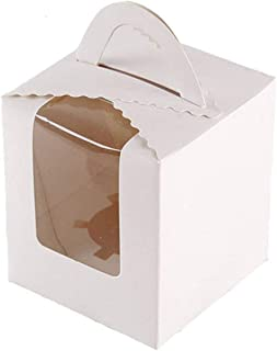 100 Pcs Single White Cupcakes Containers Gift Boxes with Window Inserts Handle for Wedding Candy Boxes