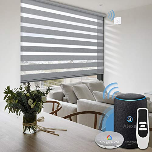 Graywind Motorized Zebra Sheer Shade Compatible with Alexa Google WiFi Smart Home Hardwired Plug-in...
