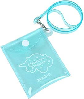Ronshin Fashion Lady Cartoon Transparent Coin Purse Headphone Data Cable Storage Bag Light blue