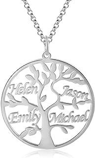 Jessemade Collar con Nombre de Plata de Ley 925, con Nombre Personalizado, árbol de la Vida, Colgante de árbol de la Vida ...