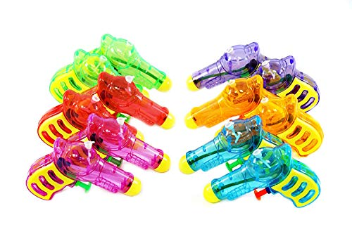Totem World 12 Squirt Guns for Kids Pet Cat Animal - Transparent Neon Bulk Water Guns with Classic Design and Durable Materials