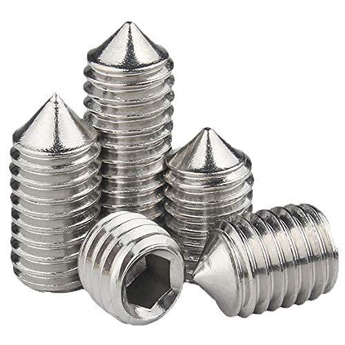 JUIDINTO Sechskant-Innensechskant-Stellschraube Kegelspitzen-Madenschraube 10 Stück M8 8 mm 304 Edelstahl-Stellschraube (10, M8,8 mm)