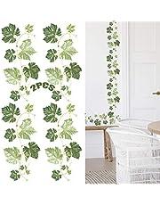 Hojas de plantas verdes Decoración de la pared del pasillo pegatinas de pared Vinilo decorativo vid para la decoración de la habitación de los niños del dormitorio de la sala de estar 2 piezas