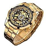 gute - orologio da polso meccanico automatico con quadrante scheletrato, colore: nero/oro