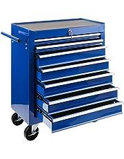 Carro de taller Arebos con 7 compartimentos / cierre centralizado / revestimiento antideslizante / ruedas con freno de estacionamiento / metal macizo / rojo, azul o negro