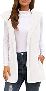Winter Warm Hoodie Womens Faux Fur Cardigan Solid Vintage Shaggy Vest Jacket Long Coat