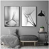 Flor de diente de león Pintura de lienzo Carteles de pared modernos Lámina en blanco y negro Lámina Decoración de la sala de estar 50x70 cm Sin marco