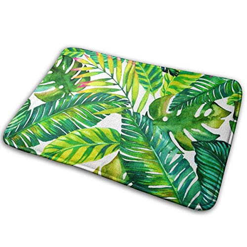 AOOEDM Bathroom Rugs Bath Mat Door Mats Bright Tropical Palm Leaves Hawaii Jungle Memory Foam Front Kitchen Rug Carpet for Kitchen Hall Inside Outdoor 15.7 X 23.5 in