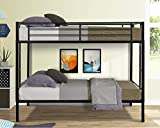 Twin Over Twin Metal Bunk Beds with 2 Side Ladders, Heavy Duty Bed Frame with Guardrail for Dormitory Bedroom Boys Girls Adults,No Box Spring Needed,Black