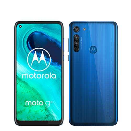 Motorola Moto G8 - Smartphone de 6,4' HD+ o-notch, 4G, Qualcomm Snapdragon SD665, Sistema de cámara triple, 64 GB, 4 GB RAM, Android 10 - Color Azul