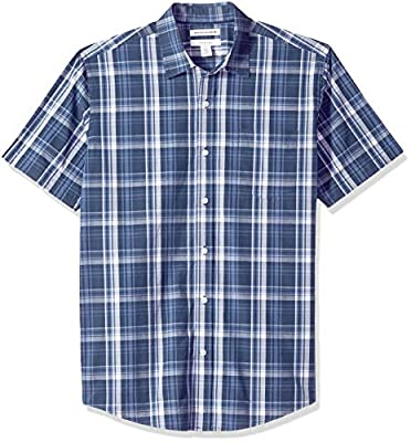 Amazon Essentials Men's Regular-Fit Short-Sleeve Plaid Casual Poplin Shirt, Navy Medium, X-Small