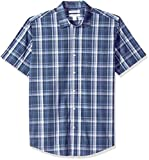 Amazon Essentials Men's Regular-Fit Short-Sleeve Plaid Casual Poplin Shirt, Navy, Medium