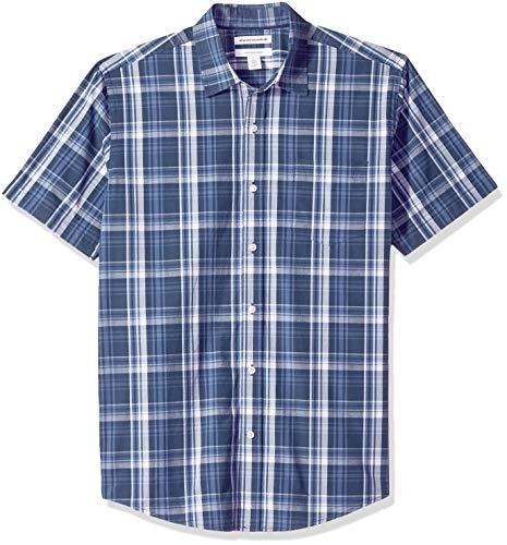 Amazon Essentials Men's Regular-Fit Short-Sleeve Plaid Casual Poplin Shirt, Navy Medium, Large