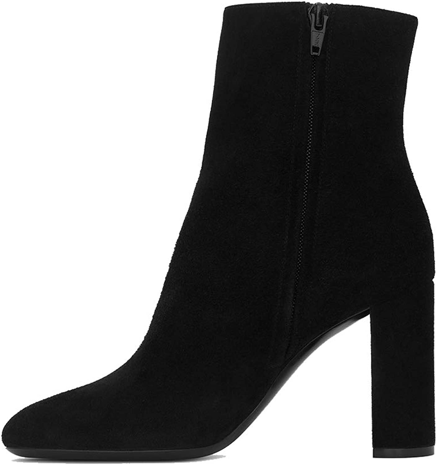 Booties, Thick and Suede Boots (Black),42