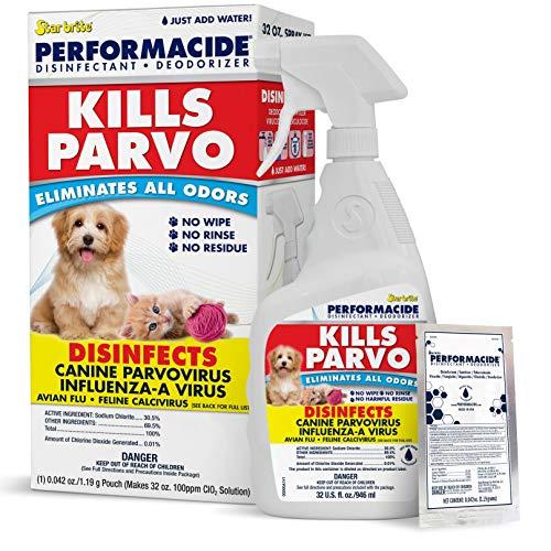 Performacide Kills Parvo Disinfectant - Kills Parvovirus, Influenza-A, Feline Calicivirus, Avian Influenza-A - 32 oz. Single Kit