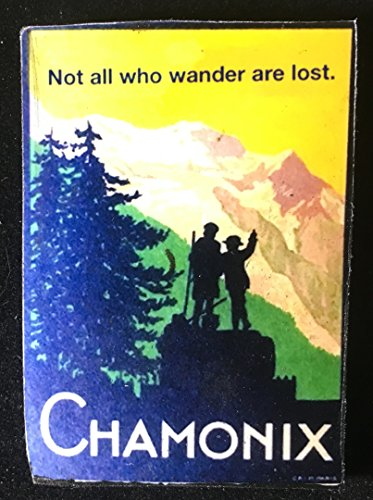 Vintage Alps Travel Poster Pin Handcrafted Wooden Brooch, Luggage Label, Not All Who Wander Are Lost Inspirational Words, Traveler Gift