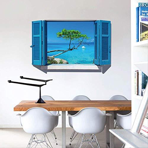 Muursticker slaapkamer woonkamer blauwe jaloezieën landschap milieuvriendelijke zelfklevende stickers, romantische raamdecoratie muursticker