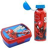 SKYLINE, Set Sandwichera y Cantimplora, Spiderman, para Almuerzo Infantil, Botella de Aluminio con Fiambrera de plástico para Niños, Vuelta al Cole 2 Pcs