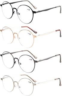 830d37f332 Eyekepper 4-Pack Quality Spring Hings Retro Round Reading Glasses +2.0
