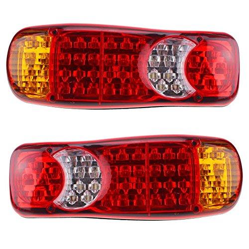WOVELOT 1 Paire 12V LED feu Arriere, Lampes de 5 Fonction pour remorque Caravane Camion Van 46 LED