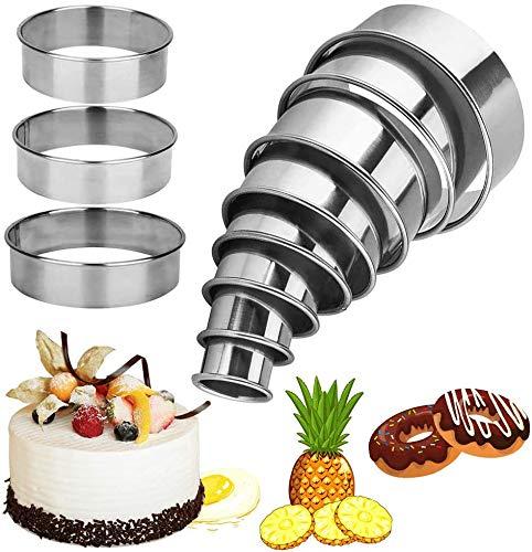 Rond Cercle Patisserie Emporte pièces Cuisine pour Pâtisserie Gâteau Fondant Feuilletée Biscuit et Tartelettes, Lot de 11