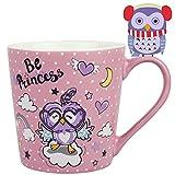 Vaeneral Tazza da caffè in ceramica, tazza da tè carina per ufficio e casa, regalo di tazze da caffè da 12 once per donne e uomini (gufo viola)