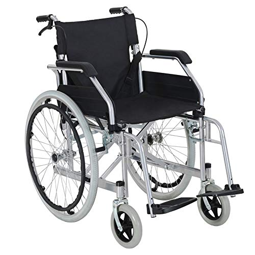 LITTLE TREE Self Propelled Wheelchair, Folding & Portable Wheelchair with Flip up Armrests, Removable Footrests and Hand Brakes