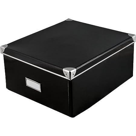 Idena 10520 - Boîte de rangement en carton robuste, couvercle renforcé par du métal, incluant un champ d'étiquetage, environ 36 x 28 x 17 cm, noir