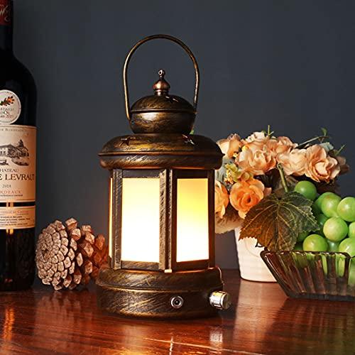 LANMOU Retro Lámpara de Mesa Inalámbrica Regulable Linterna LED Vintage Luces de Llama Lámpara de Escritorio Recargable Con Cargador, 3 Modos de Iluminación, Luz Nocturna Para Cámping, Bronze