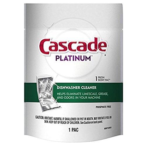 2-Cascade Platinum Dishwasher Cleaner 1-Fresh Scent Pac