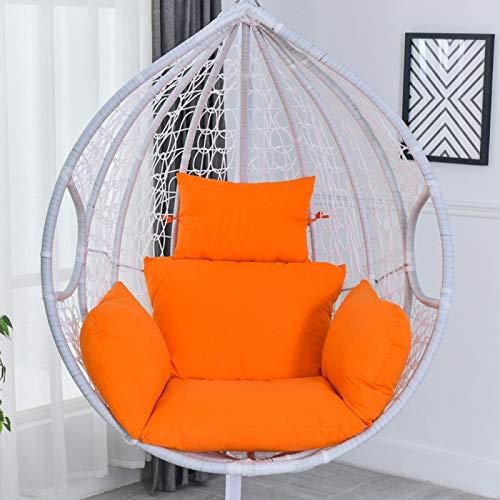 Huevo Hamaca Almohadillas espesas impermeables antideslizantes para silla de columpio, cesta colgante de huevo, cojín para silla de jardín, patio, interior y exterior, color naranja