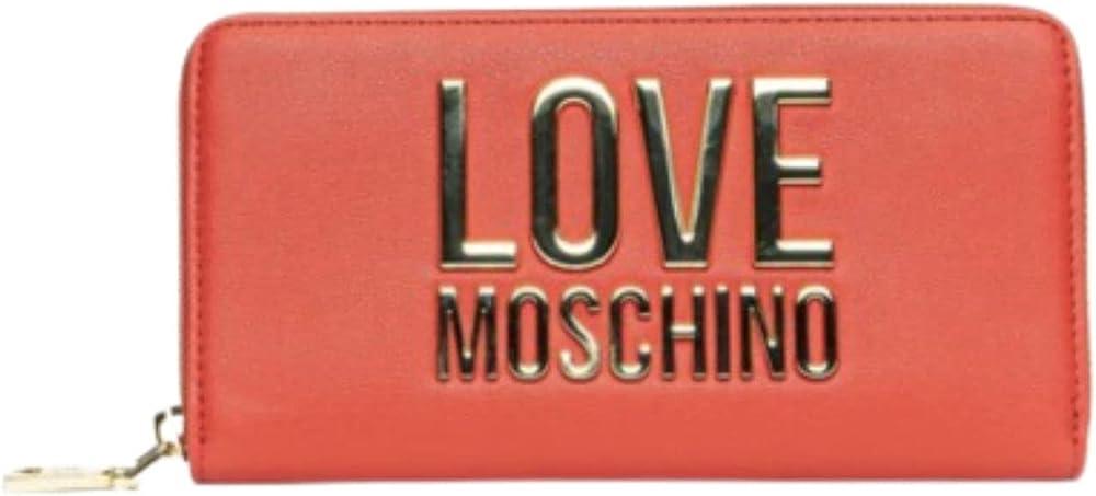 Love moschino porta carte di credito portafoglio da donna in ecopelle rosso
