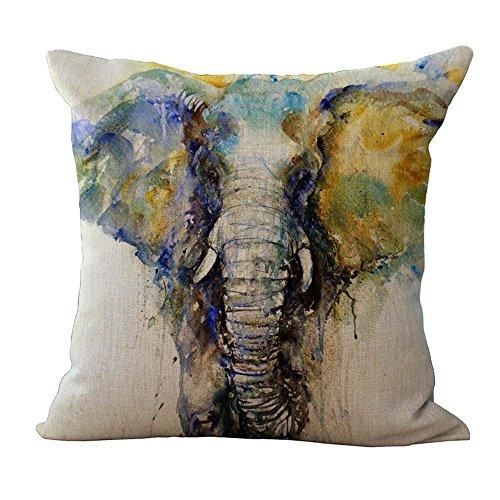 Housses de coussin (45 cmx45 cm/18 x 18 d'encre Peinture Série éléphants Gris beige Couleur Elephant Coton coussin en lin pour canapé My-a1051–01