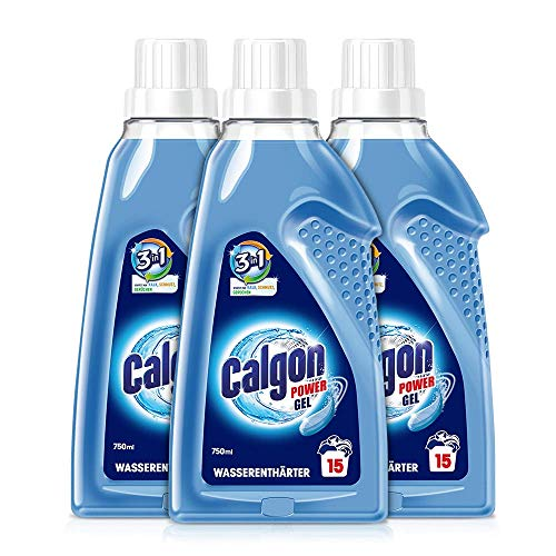 Calgon 3-in-1 Power Gel – Wirksam gegen Kalk, Schmutz und Gerüche – Schützender Wasserenthärter für die Waschmaschine – 3 x 750 ml