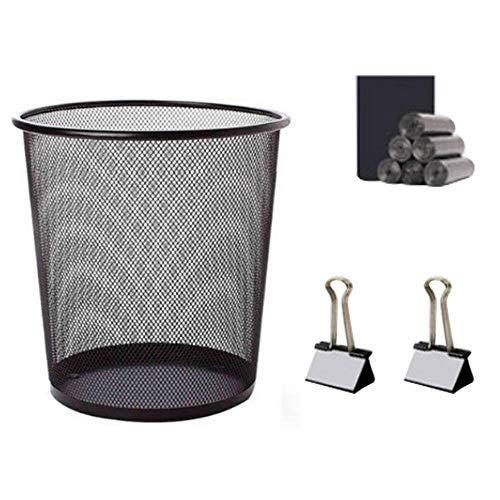 HHTX Rundgitter-Abfallbehälter mit 110 PCS Müllsack 2PCS Schwarze Clips Leichte, robuste, Kratzfeste Papierabfallbehälter Metall-Rundgeflecht-Abfallbehälter aus Papier