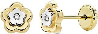18K Gold Earrings Bicolor 6mm. Flower Girl Zirconia Reason [Ac0150]
