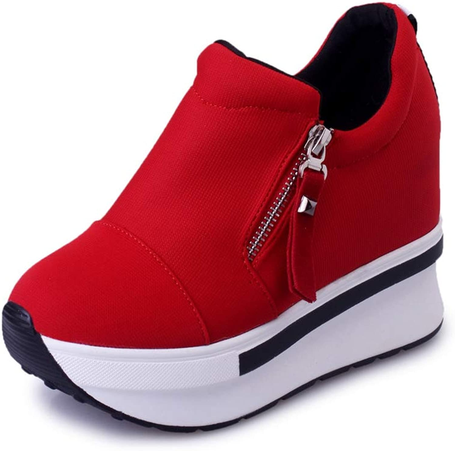 U-MAC Woman Wedge Sneakers Side Zipper Solid color Female Casual Canvas shoes Comfortable Slip On Platform