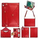 iPad mini 2 ケース、TABCase PUレザーショルダーバッグ磁気ブラケット、カードスロット付き多機能フラットケース/ペンシルケース/財布ファイル分割ポケット付き手、に適しています 7.9インチ iPad Mini 1/2/3/4/5,赤